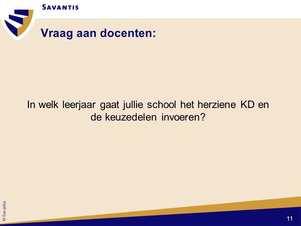 © Savantis Vraag aan docenten: In welk leerjaar gaat jullie school het herziene KD en de keuzedelen invoeren.