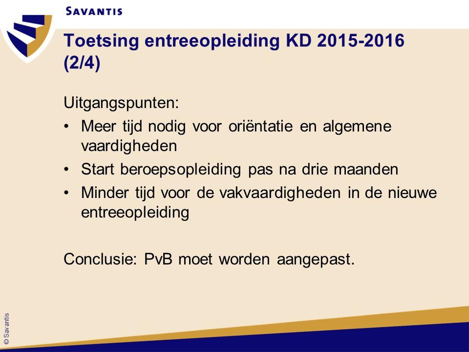 © Savantis Toetsing entreeopleiding KD 2015-2016 (2/4) Uitgangspunten: Meer tijd nodig voor oriëntatie en algemene vaardigheden Start beroepsopleiding pas na drie maanden Minder tijd voor de vakvaardigheden in de nieuwe entreeopleiding Conclusie: PvB moet worden aangepast.