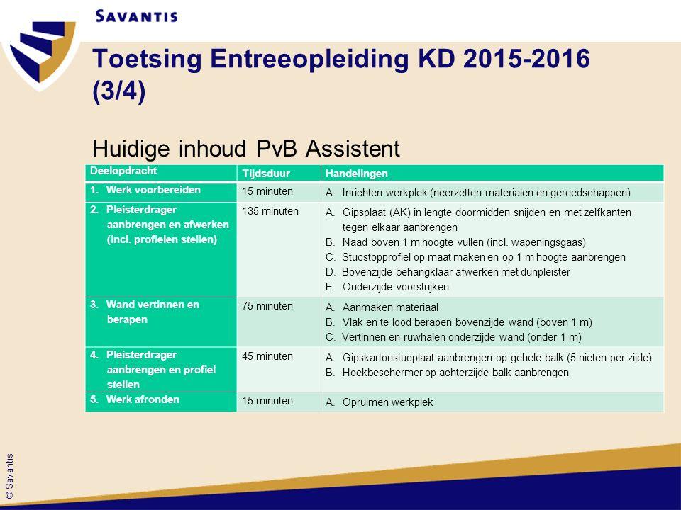 © Savantis Toetsing Entreeopleiding KD 2015-2016 (3/4) Huidige inhoud PvB Assistent Deelopdracht TijdsduurHandelingen 1.