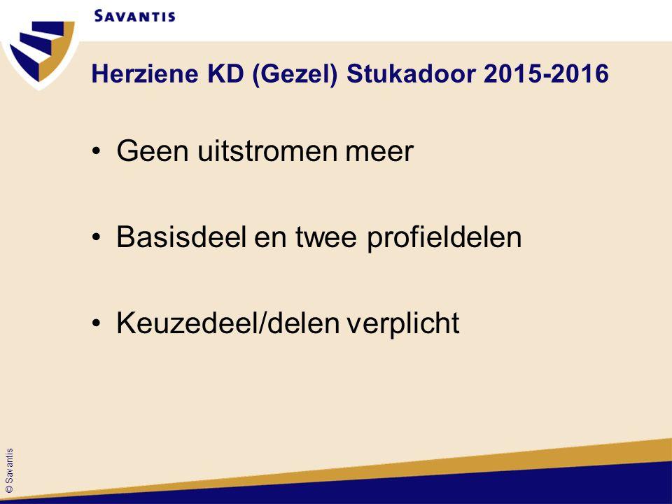 © Savantis Herziene KD (Gezel) Stukadoor 2015-2016 Geen uitstromen meer Basisdeel en twee profieldelen Keuzedeel/delen verplicht