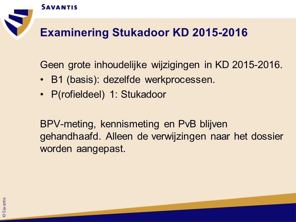 © Savantis Examinering Stukadoor KD 2015-2016 Geen grote inhoudelijke wijzigingen in KD 2015-2016.