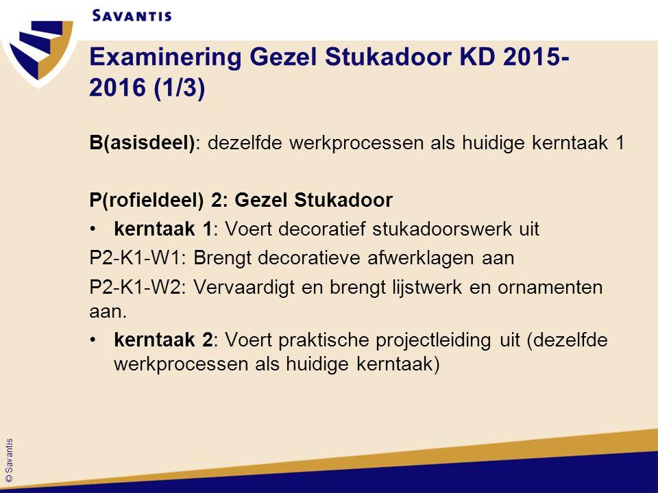 © Savantis Examinering Gezel Stukadoor KD 2015- 2016 (1/3) B(asisdeel): dezelfde werkprocessen als huidige kerntaak 1 P(rofieldeel) 2: Gezel Stukadoor kerntaak 1: Voert decoratief stukadoorswerk uit P2-K1-W1: Brengt decoratieve afwerklagen aan P2-K1-W2: Vervaardigt en brengt lijstwerk en ornamenten aan.