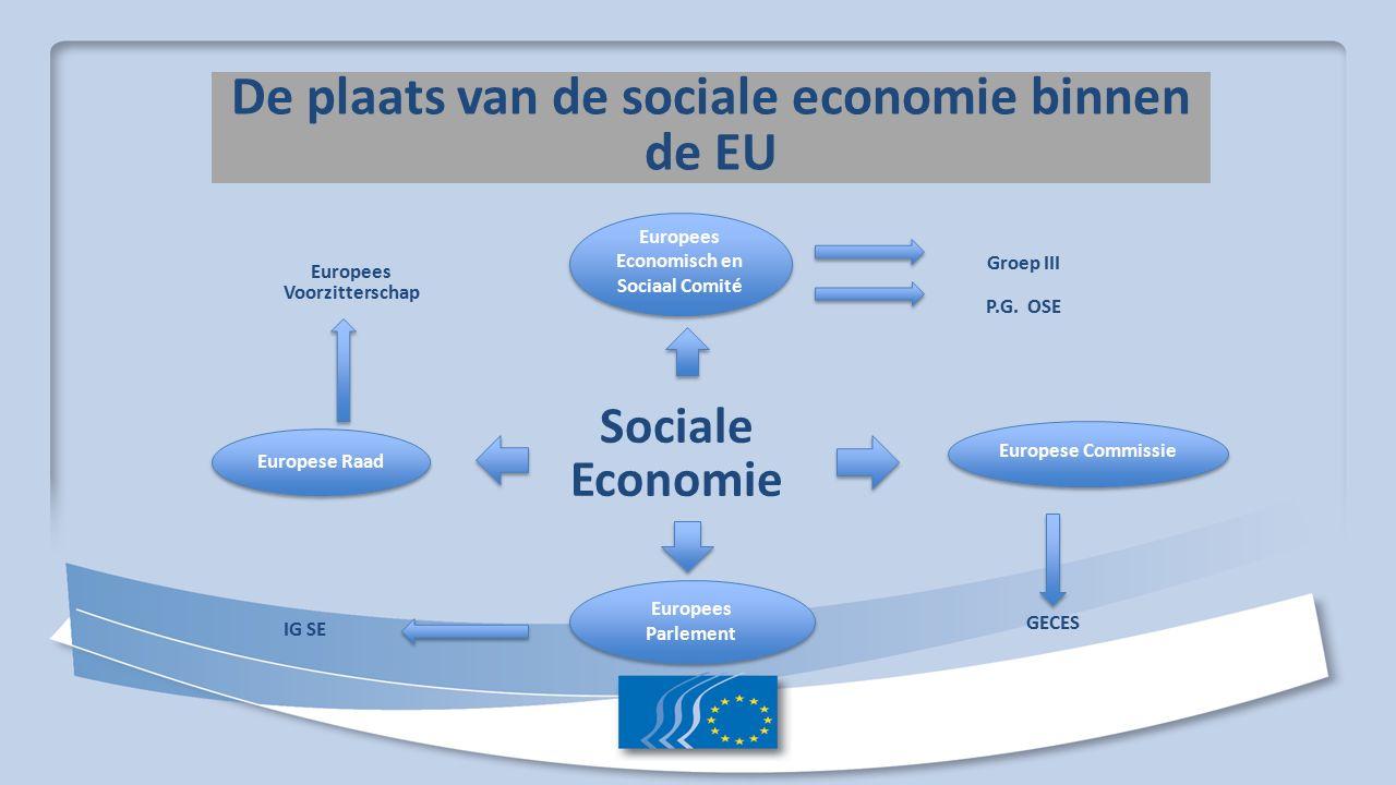 De plaats van de sociale economie binnen de EU Sociale Economie Europees Economisch en Sociaal Comité Europees Parlement Groep III P.G.
