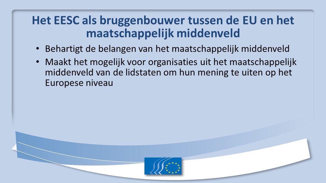Het EESC als bruggenbouwer tussen de EU en het maatschappelijk middenveld Behartigt de belangen van het maatschappelijk middenveld Maakt het mogelijk voor organisaties uit het maatschappelijk middenveld van de lidstaten om hun mening te uiten op het Europese niveau