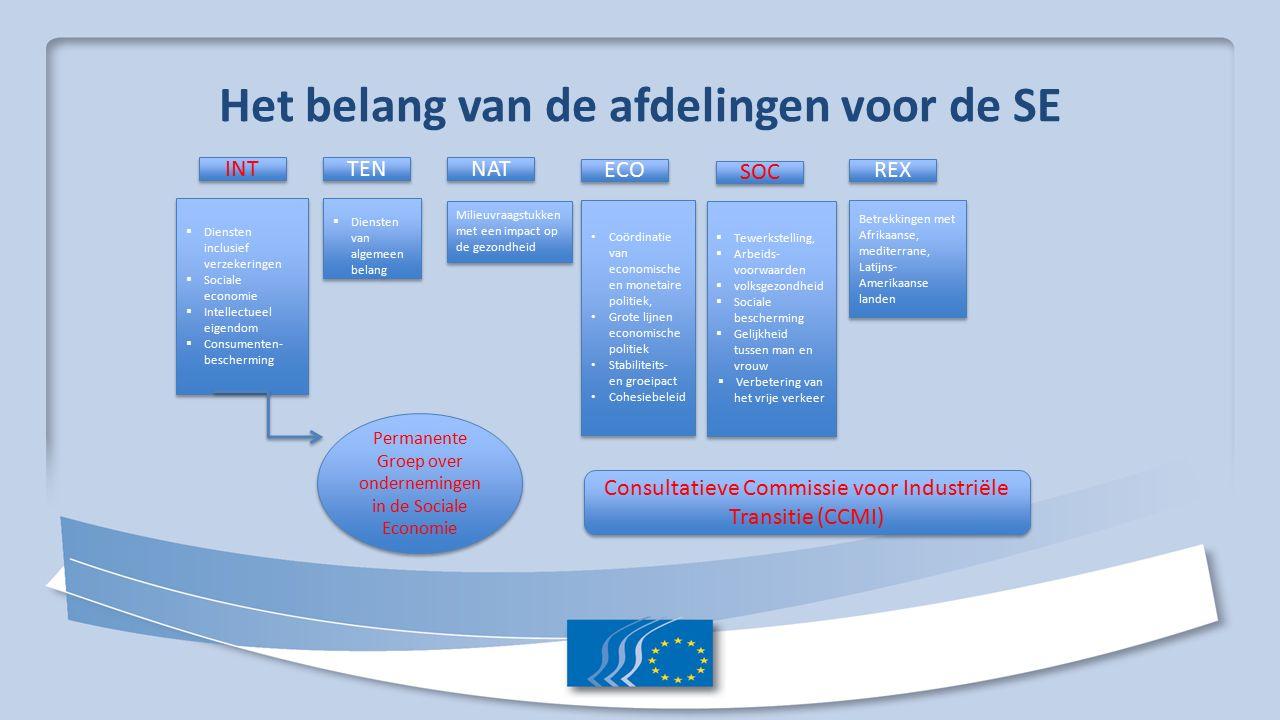 Het belang van de afdelingen voor de SE INT TEN NAT ECO SOC REX  Diensten inclusief verzekeringen  Sociale economie  Intellectueel eigendom  Consumenten- bescherming  Diensten inclusief verzekeringen  Sociale economie  Intellectueel eigendom  Consumenten- bescherming Permanente Groep over ondernemingen in de Sociale Economie  Diensten van algemeen belang Milieuvraagstukken met een impact op de gezondheid Coördinatie van economische en monetaire politiek, Grote lijnen economische politiek Stabiliteits- en groeipact Cohesiebeleid Coördinatie van economische en monetaire politiek, Grote lijnen economische politiek Stabiliteits- en groeipact Cohesiebeleid  Tewerkstelling,  Arbeids- voorwaarden  volksgezondheid  Sociale bescherming  Gelijkheid tussen man en vrouw  Verbetering van het vrije verkeer  Tewerkstelling,  Arbeids- voorwaarden  volksgezondheid  Sociale bescherming  Gelijkheid tussen man en vrouw  Verbetering van het vrije verkeer Betrekkingen met Afrikaanse, mediterrane, Latijns- Amerikaanse landen Consultatieve Commissie voor Industriële Transitie (CCMI)
