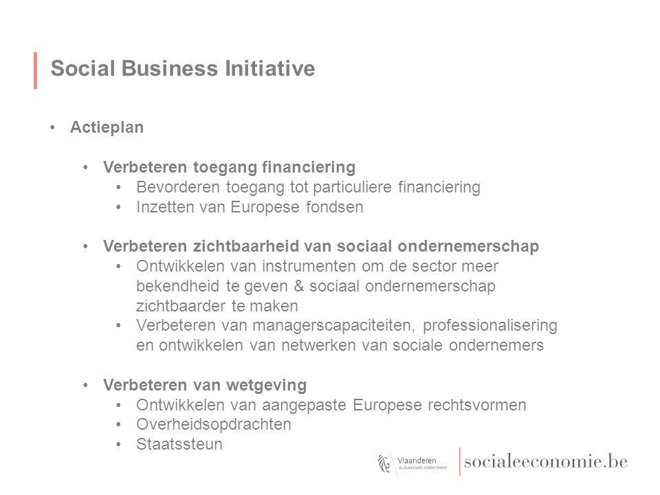 Social Business Initiative Actieplan Verbeteren toegang financiering Bevorderen toegang tot particuliere financiering Inzetten van Europese fondsen Verbeteren zichtbaarheid van sociaal ondernemerschap Ontwikkelen van instrumenten om de sector meer bekendheid te geven & sociaal ondernemerschap zichtbaarder te maken Verbeteren van managerscapaciteiten, professionalisering en ontwikkelen van netwerken van sociale ondernemers Verbeteren van wetgeving Ontwikkelen van aangepaste Europese rechtsvormen Overheidsopdrachten Staatssteun Maximum tot hier