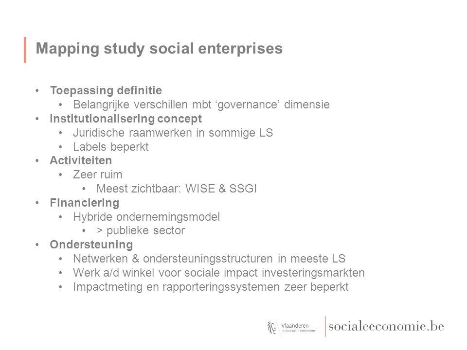 Mapping study social enterprises Toepassing definitie Belangrijke verschillen mbt 'governance' dimensie Institutionalisering concept Juridische raamwe
