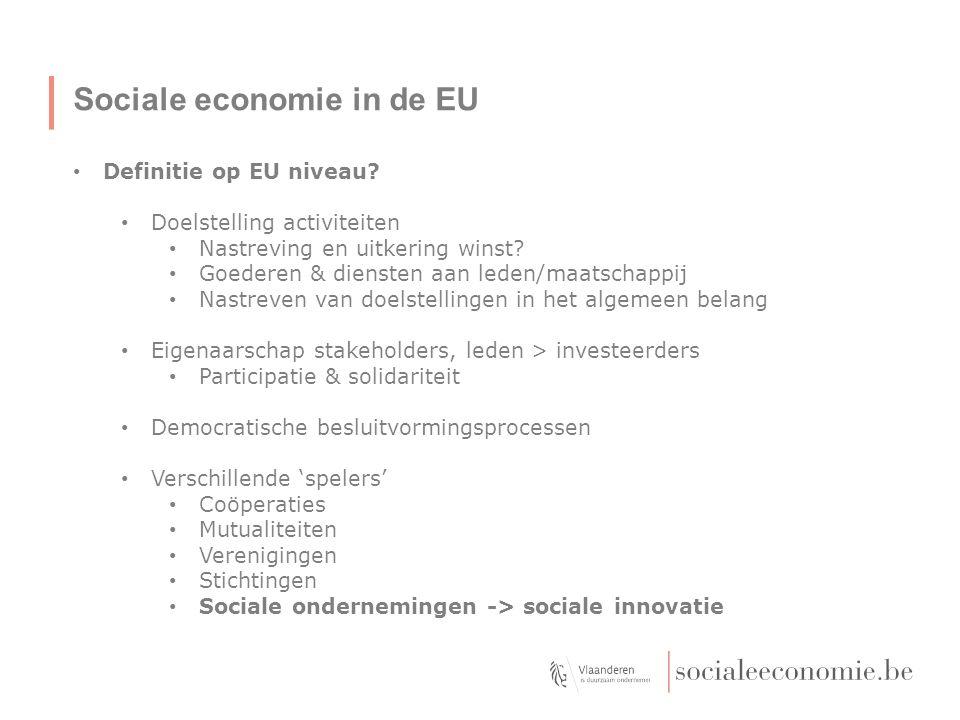 Sociale economie in de EU Definitie op EU niveau? Doelstelling activiteiten Nastreving en uitkering winst? Goederen & diensten aan leden/maatschappij