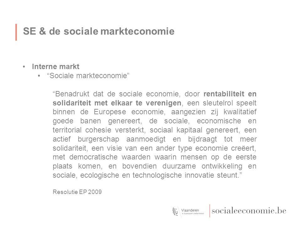 SE & de sociale markteconomie Interne markt Sociale markteconomie Benadrukt dat de sociale economie, door rentabiliteit en solidariteit met elkaar te verenigen, een sleutelrol speelt binnen de Europese economie, aangezien zij kwalitatief goede banen genereert, de sociale, economische en territorial cohesie versterkt, sociaal kapitaal genereert, een actief burgerschap aanmoedigt en bijdraagt tot meer solidariteit, een visie van een ander type economie creëert, met democratische waarden waarin mensen op de eerste plaats komen, en bovendien duurzame ontwikkeling en sociale, ecologische en technologische innovatie steunt. Resolutie EP 2009