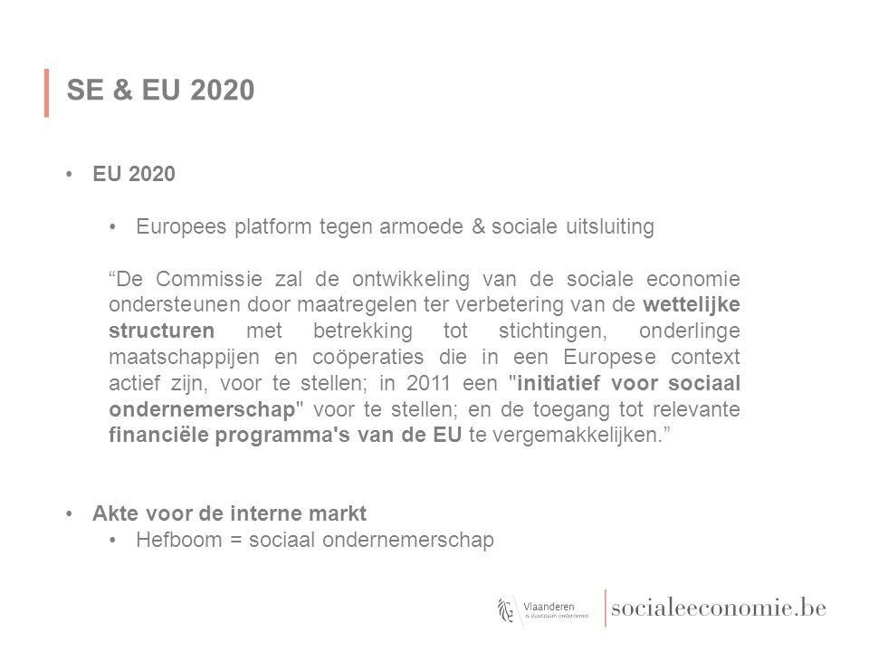 SE & EU 2020 EU 2020 Europees platform tegen armoede & sociale uitsluiting De Commissie zal de ontwikkeling van de sociale economie ondersteunen door maatregelen ter verbetering van de wettelijke structuren met betrekking tot stichtingen, onderlinge maatschappijen en coöperaties die in een Europese context actief zijn, voor te stellen; in 2011 een initiatief voor sociaal ondernemerschap voor te stellen; en de toegang tot relevante financiële programma s van de EU te vergemakkelijken. Akte voor de interne markt Hefboom = sociaal ondernemerschap Maximum tot hier