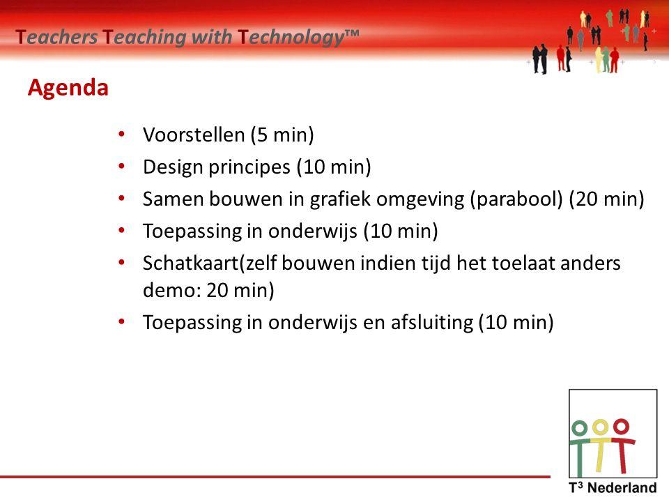 Teachers Teaching with Technology™ Agenda Voorstellen (5 min) Design principes (10 min) Samen bouwen in grafiek omgeving (parabool) (20 min) Toepassing in onderwijs (10 min) Schatkaart(zelf bouwen indien tijd het toelaat anders demo: 20 min) Toepassing in onderwijs en afsluiting (10 min)