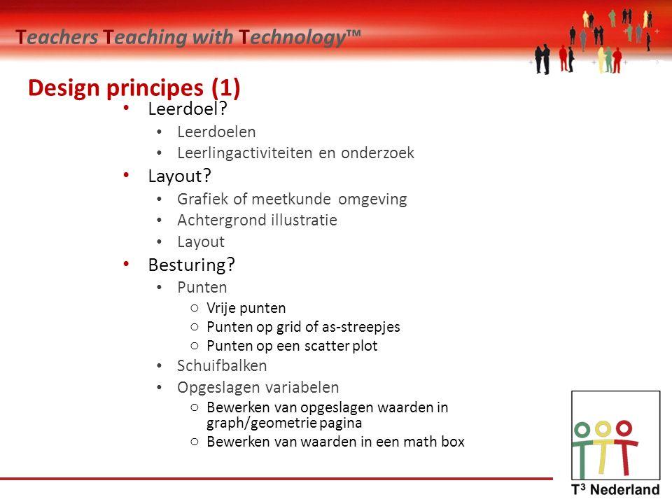 Teachers Teaching with Technology™ Design principes (1) Leerdoel? Leerdoelen Leerlingactiviteiten en onderzoek Layout? Grafiek of meetkunde omgeving A