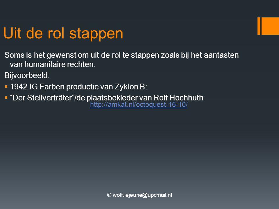 © wolf.lejeune@upcmail.nl Uit de rol stappen Soms is het gewenst om uit de rol te stappen zoals bij het aantasten van humanitaire rechten.