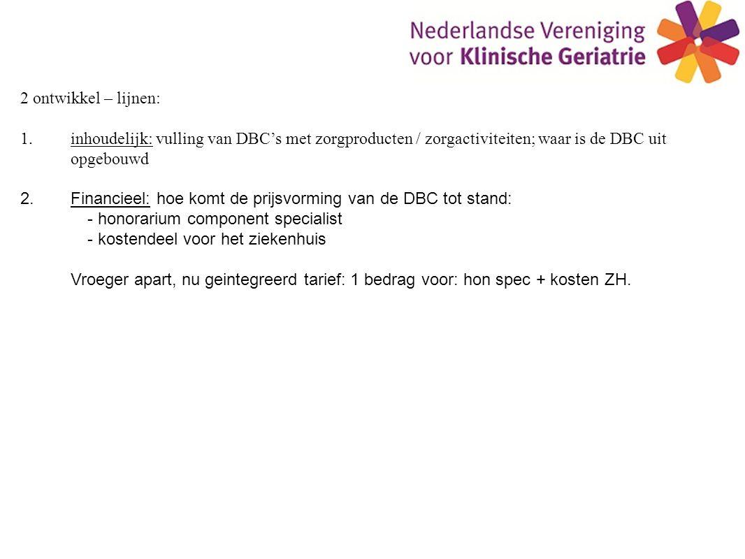 2 ontwikkel – lijnen: 1.inhoudelijk: vulling van DBC's met zorgproducten / zorgactiviteiten; waar is de DBC uit opgebouwd 2.Financieel: hoe komt de prijsvorming van de DBC tot stand: - honorarium component specialist - kostendeel voor het ziekenhuis Vroeger apart, nu geintegreerd tarief: 1 bedrag voor: hon spec + kosten ZH.