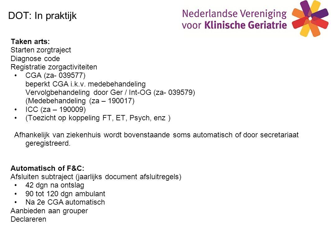 DOT: In praktijk Taken arts: Starten zorgtraject Diagnose code Registratie zorgactiviteiten CGA (za- 039577) beperkt CGA i.k.v.