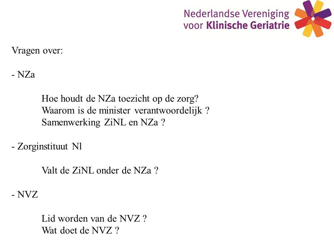 Vragen over: - NZa Hoe houdt de NZa toezicht op de zorg.