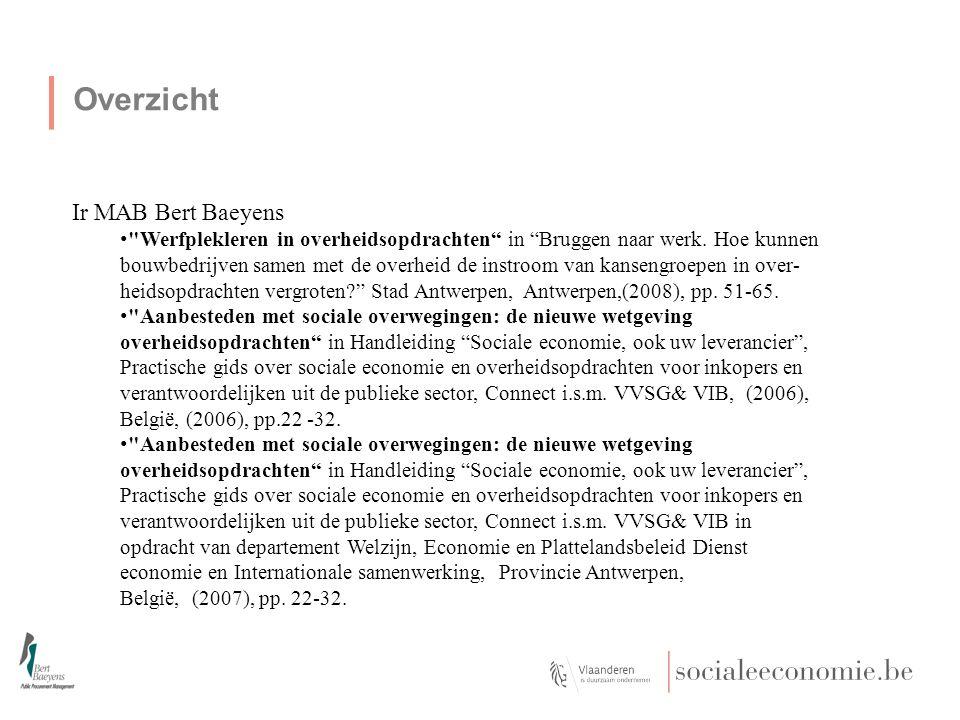 Overzicht Ir MAB Bert Baeyens Werfplekleren in overheidsopdrachten in Bruggen naar werk.