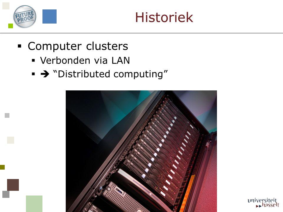  Computer clusters  Verbonden via LAN  Distributed computing Historiek