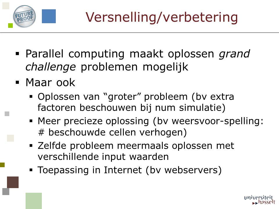 """Versnelling/verbetering  Parallel computing maakt oplossen grand challenge problemen mogelijk  Maar ook  Oplossen van """"groter"""" probleem (bv extra f"""