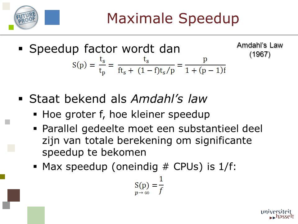 Maximale Speedup  Speedup factor wordt dan  Staat bekend als Amdahl's law  Hoe groter f, hoe kleiner speedup  Parallel gedeelte moet een substantieel deel zijn van totale berekening om significante speedup te bekomen  Max speedup (oneindig # CPUs) is 1/f: Amdahl's Law (1967)