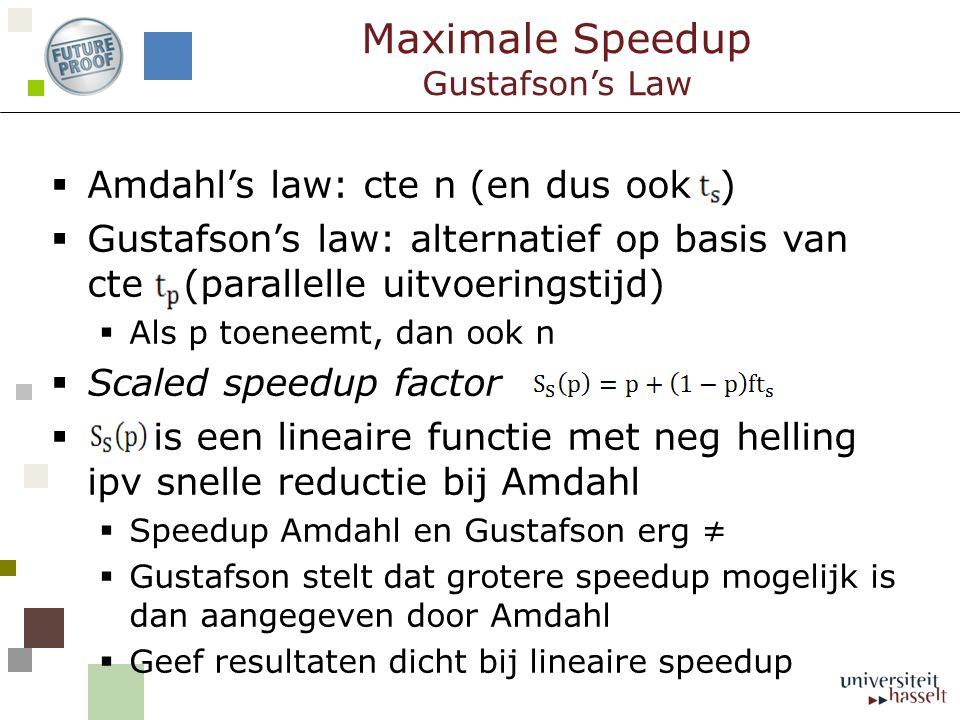 Maximale Speedup Gustafson's Law  Amdahl's law: cte n (en dus ook )  Gustafson's law: alternatief op basis van cte (parallelle uitvoeringstijd)  Als p toeneemt, dan ook n  Scaled speedup factor  is een lineaire functie met neg helling ipv snelle reductie bij Amdahl  Speedup Amdahl en Gustafson erg ≠  Gustafson stelt dat grotere speedup mogelijk is dan aangegeven door Amdahl  Geef resultaten dicht bij lineaire speedup