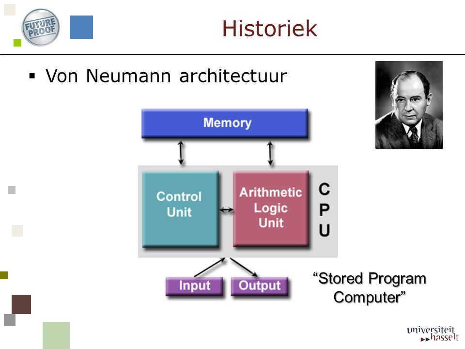  Von Neumann architectuur Historiek Stored Program Computer