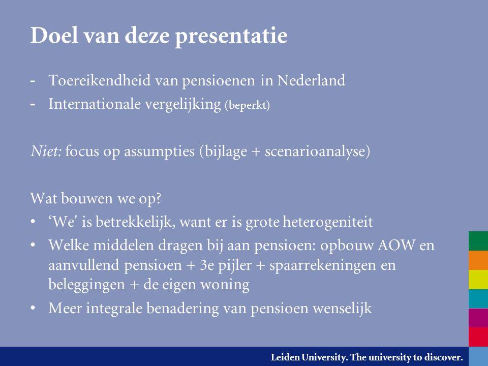 Leiden University. The university to discover. Bruto vervangingsratio (1 e +2 e pijler)