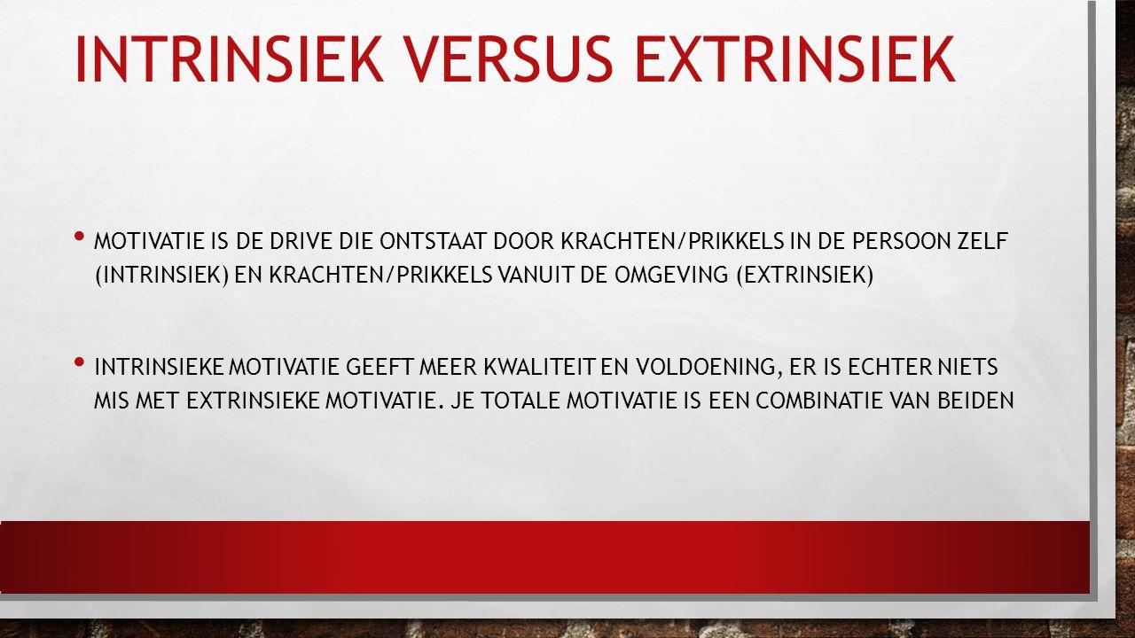 INTRINSIEK VERSUS EXTRINSIEK MOTIVATIE IS DE DRIVE DIE ONTSTAAT DOOR KRACHTEN/PRIKKELS IN DE PERSOON ZELF (INTRINSIEK) EN KRACHTEN/PRIKKELS VANUIT DE