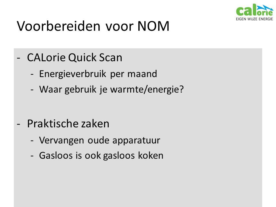 Voorbereiden voor NOM -CALorie Quick Scan -Energieverbruik per maand -Waar gebruik je warmte/energie.