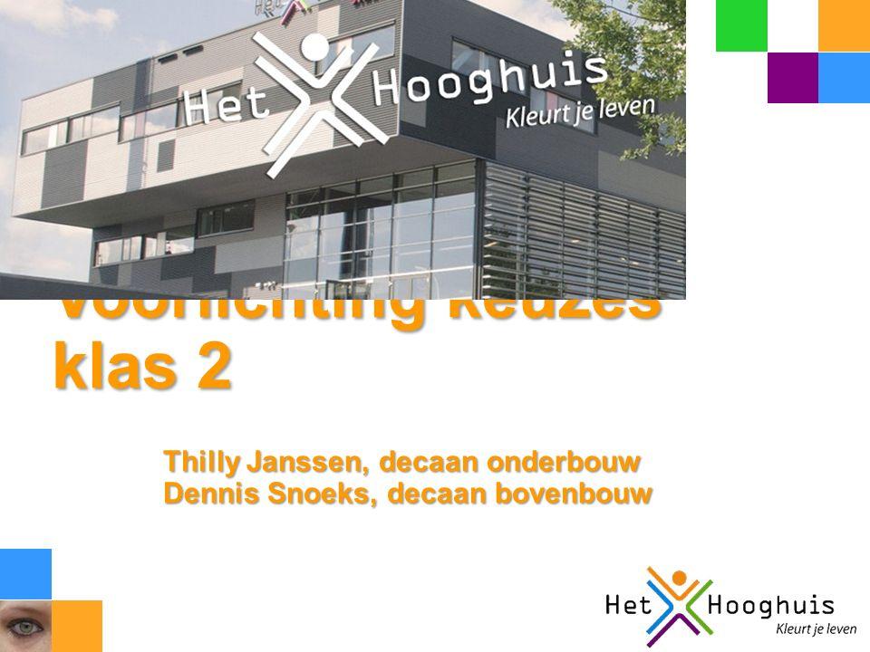 Voorlichting keuzes klas 2 Thilly Janssen, decaan onderbouw Dennis Snoeks, decaan bovenbouw