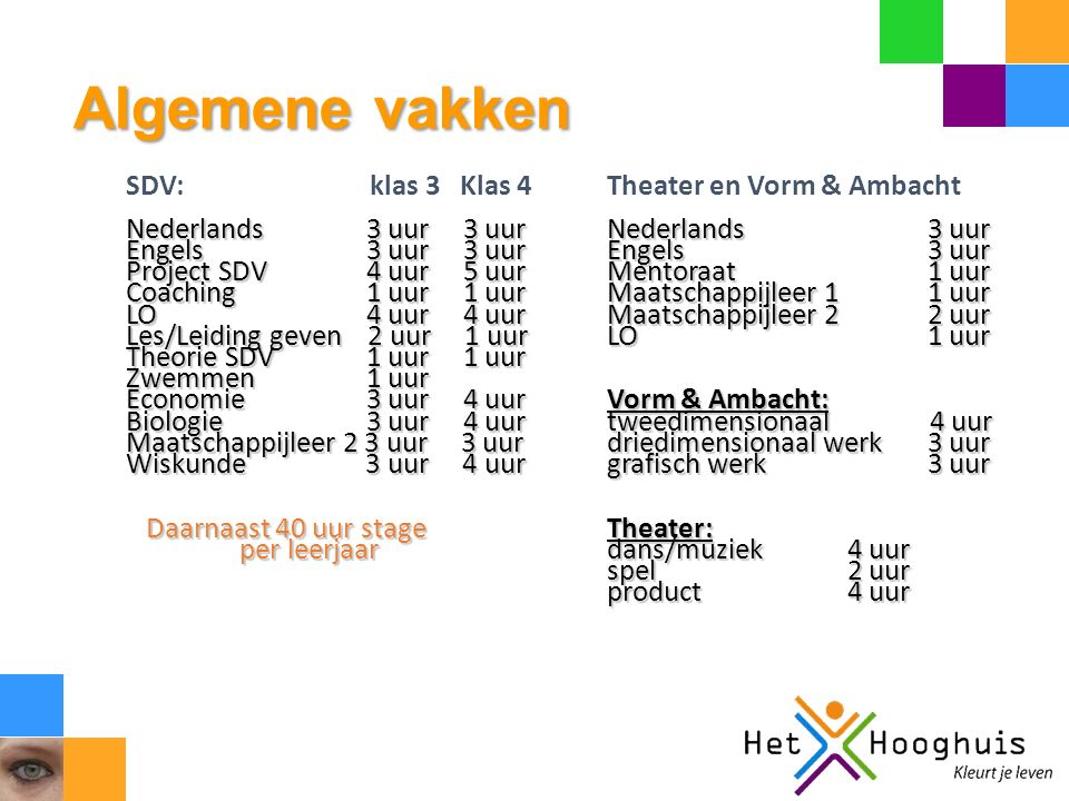 Algemene vakken SDV: klas 3 Klas 4 Theater en Vorm & Ambacht Nederlands 3 uur 3 uurNederlands 3 uur Engels 3 uur 3 uurEngels3 uur Project SDV 4 uur 5