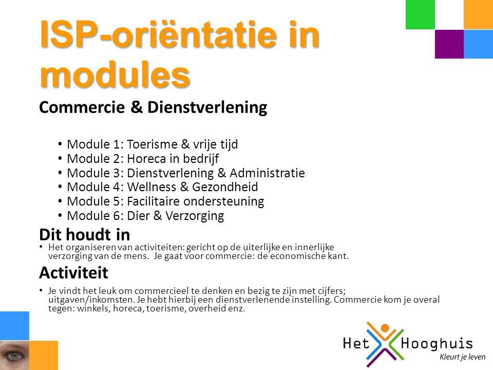 ISP-oriëntatie in modules Commercie & Dienstverlening Module 1: Toerisme & vrije tijd Module 2: Horeca in bedrijf Module 3: Dienstverlening & Administ