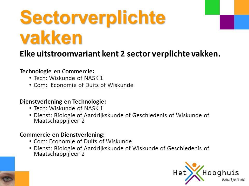 Sectorverplichte vakken Elke uitstroomvariant kent 2 sector verplichte vakken.