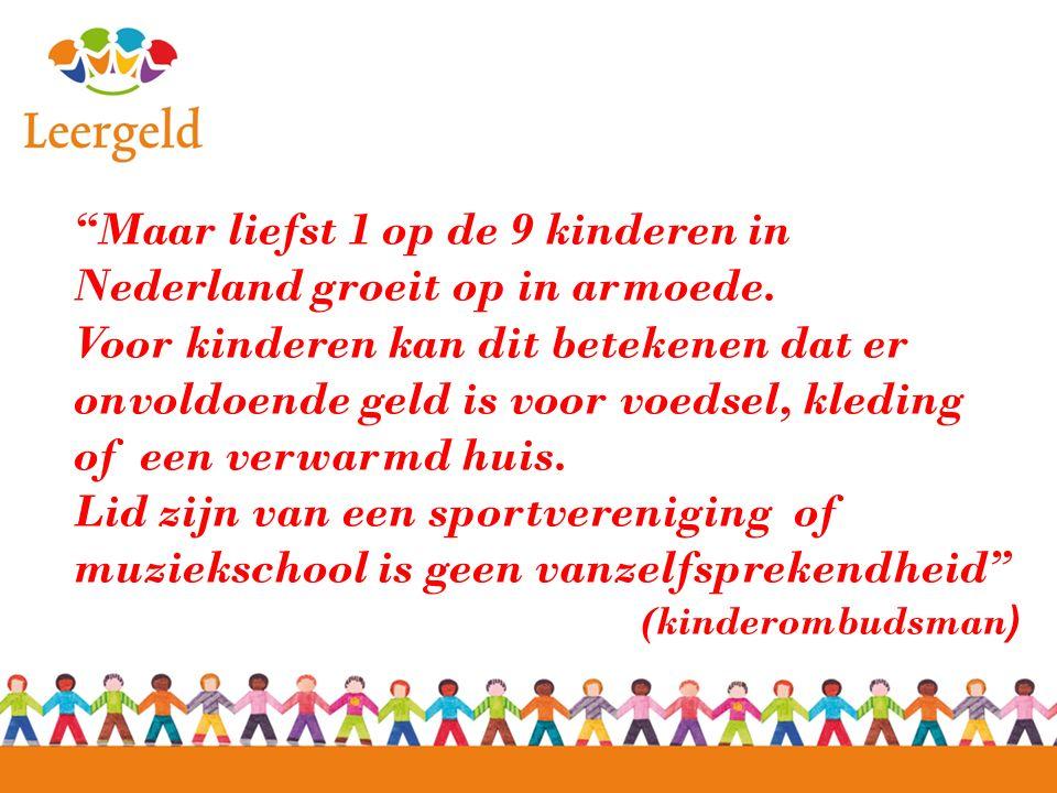 Maar liefst 1 op de 9 kinderen in Nederland groeit op in armoede.
