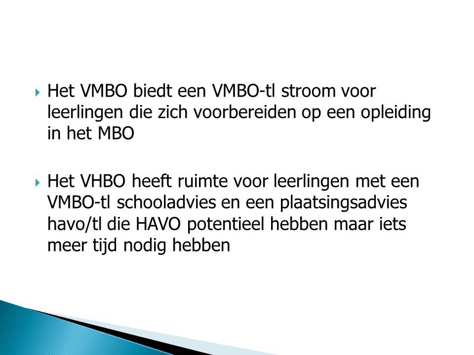  Het VMBO biedt een VMBO-tl stroom voor leerlingen die zich voorbereiden op een opleiding in het MBO  Het VHBO heeft ruimte voor leerlingen met een VMBO-tl schooladvies en een plaatsingsadvies havo/tl die HAVO potentieel hebben maar iets meer tijd nodig hebben