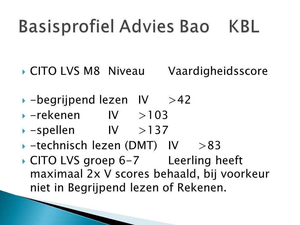  CITO LVS M8 Niveau Vaardigheidsscore  -begrijpend lezen IV >42  -rekenen IV >103  -spellen IV >137  -technisch lezen (DMT) IV >83  CITO LVS groep 6-7 Leerling heeft maximaal 2x V scores behaald, bij voorkeur niet in Begrijpend lezen of Rekenen.