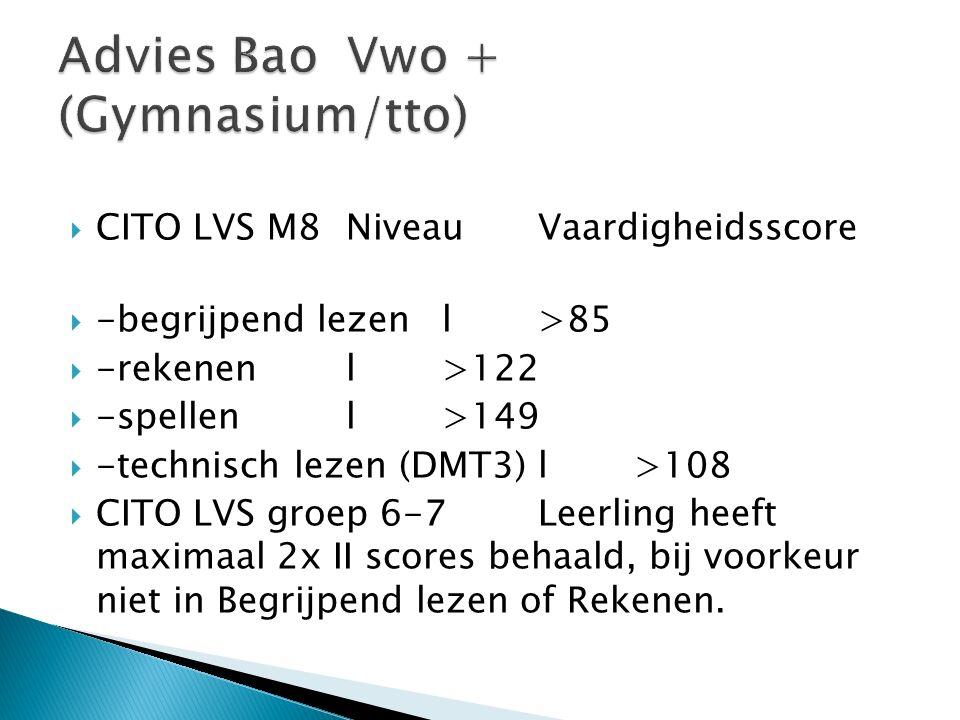  CITO LVS M8 Niveau Vaardigheidsscore  -begrijpend lezen l >85  -rekenen l >122  -spellen l >149  -technisch lezen (DMT3) l >108  CITO LVS groep 6-7 Leerling heeft maximaal 2x II scores behaald, bij voorkeur niet in Begrijpend lezen of Rekenen.
