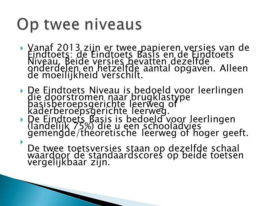  Vanaf 2013 zijn er twee papieren versies van de Eindtoets: de Eindtoets Basis en de Eindtoets Niveau.