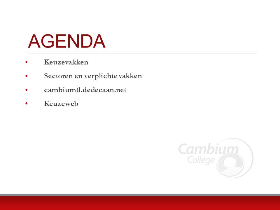 AGENDA Keuzevakken Sectoren en verplichte vakken cambiumtl.dedecaan.net Keuzeweb