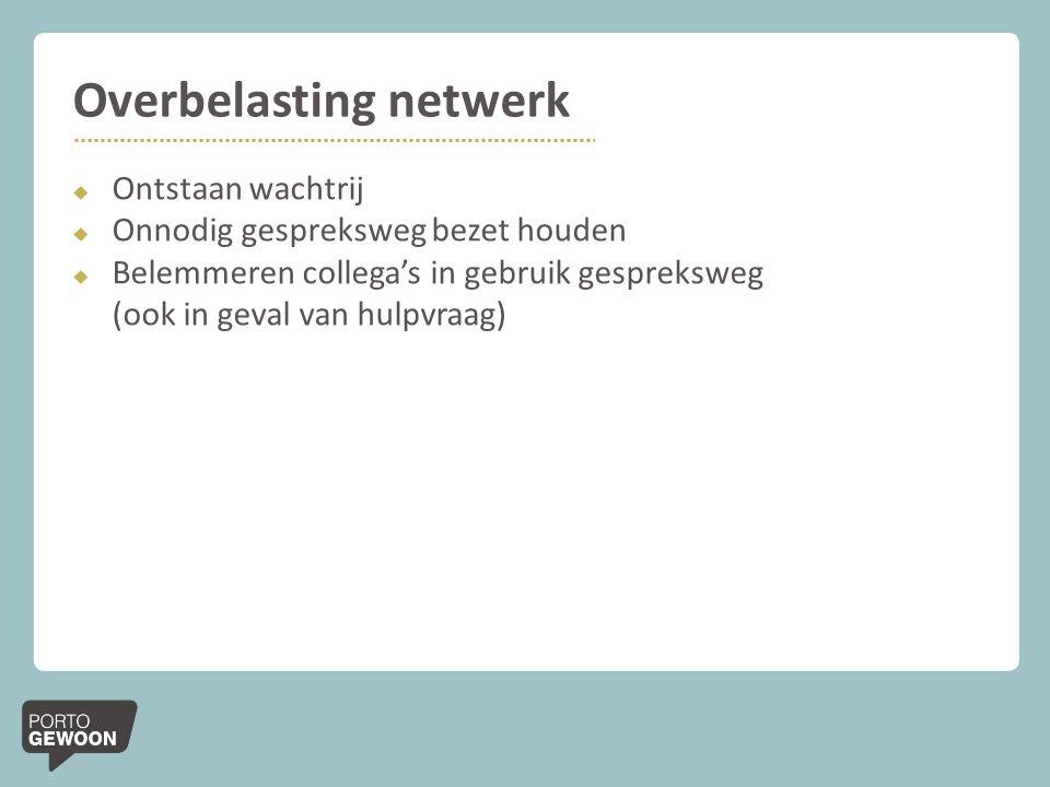 Overbelasting netwerk  Ontstaan wachtrij  Onnodig gespreksweg bezet houden  Belemmeren collega's in gebruik gespreksweg (ook in geval van hulpvraag)