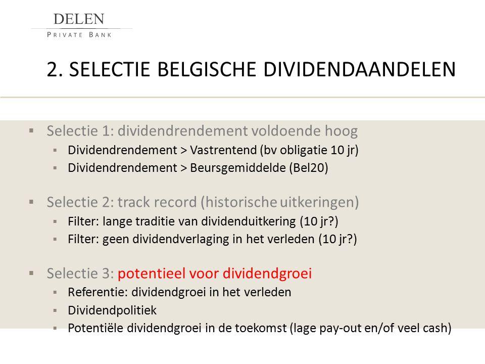  Selectie 1: dividendrendement voldoende hoog  Dividendrendement > Vastrentend (bv obligatie 10 jr)  Dividendrendement > Beursgemiddelde (Bel20) 