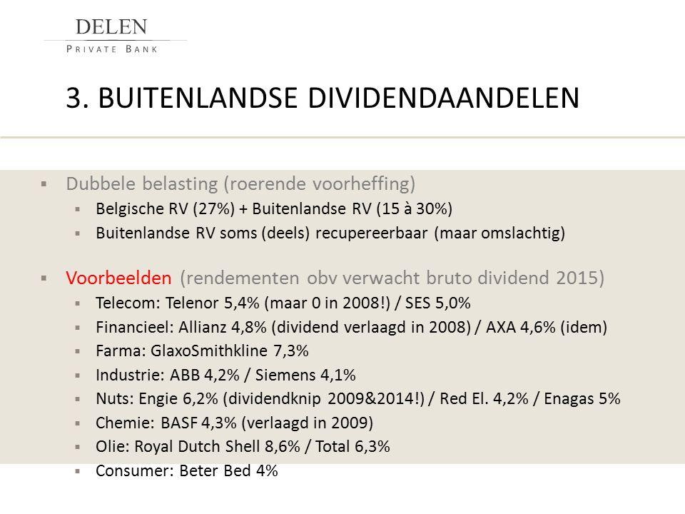 3. BUITENLANDSE DIVIDENDAANDELEN  Dubbele belasting (roerende voorheffing)  Belgische RV (27%) + Buitenlandse RV (15 à 30%)  Buitenlandse RV soms (