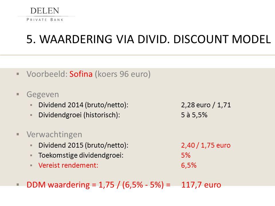 5. WAARDERING VIA DIVID. DISCOUNT MODEL  Voorbeeld: Sofina (koers 96 euro)  Gegeven  Dividend 2014 (bruto/netto):2,28 euro / 1,71  Dividendgroei (