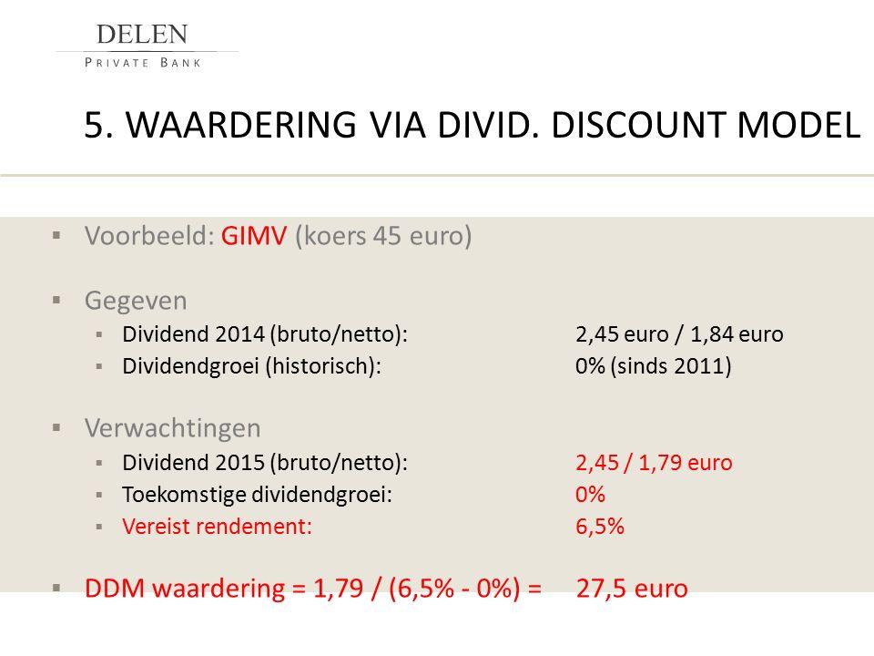 5. WAARDERING VIA DIVID. DISCOUNT MODEL  Voorbeeld: GIMV (koers 45 euro)  Gegeven  Dividend 2014 (bruto/netto):2,45 euro / 1,84 euro  Dividendgroe