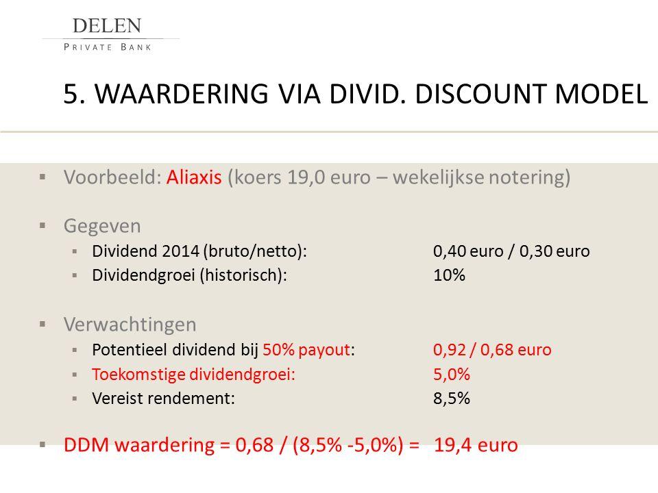 5. WAARDERING VIA DIVID. DISCOUNT MODEL  Voorbeeld: Aliaxis (koers 19,0 euro – wekelijkse notering)  Gegeven  Dividend 2014 (bruto/netto):0,40 euro