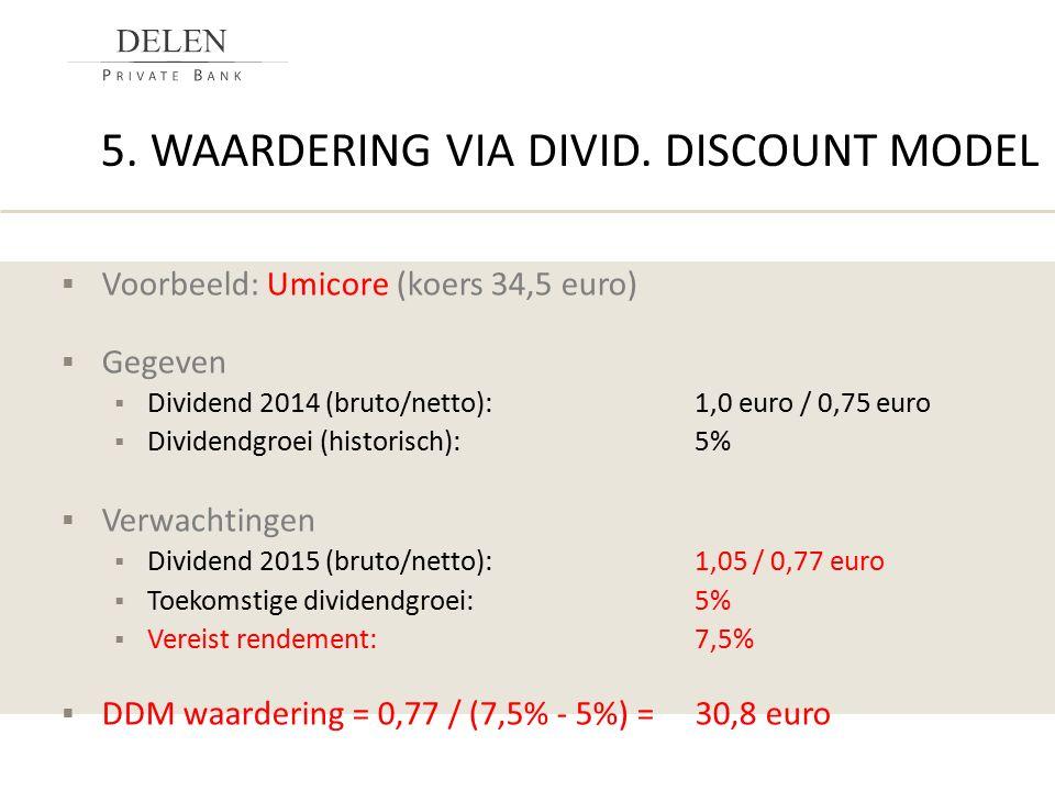 5. WAARDERING VIA DIVID. DISCOUNT MODEL  Voorbeeld: Umicore (koers 34,5 euro)  Gegeven  Dividend 2014 (bruto/netto):1,0 euro / 0,75 euro  Dividend