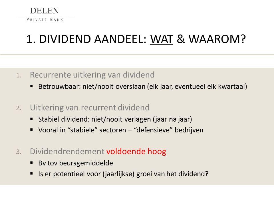 1. DIVIDEND AANDEEL: WAT & WAAROM? 1. Recurrente uitkering van dividend  Betrouwbaar: niet/nooit overslaan (elk jaar, eventueel elk kwartaal) 2. Uitk
