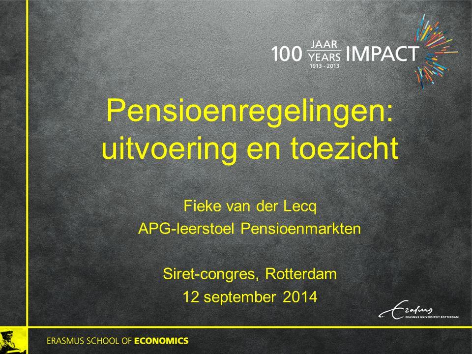 Pensioenregelingen: uitvoering en toezicht Fieke van der Lecq APG-leerstoel Pensioenmarkten Siret-congres, Rotterdam 12 september 2014
