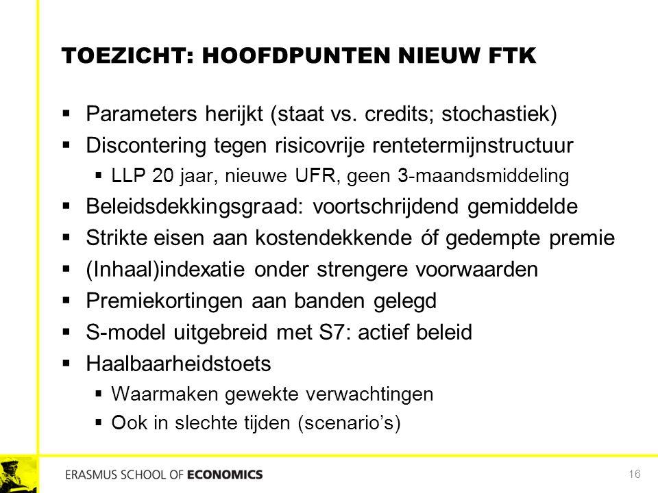 TOEZICHT: HOOFDPUNTEN NIEUW FTK  Parameters herijkt (staat vs. credits; stochastiek)  Discontering tegen risicovrije rentetermijnstructuur  LLP 20