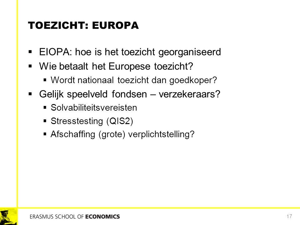 TOEZICHT: EUROPA  EIOPA: hoe is het toezicht georganiseerd  Wie betaalt het Europese toezicht?  Wordt nationaal toezicht dan goedkoper?  Gelijk sp